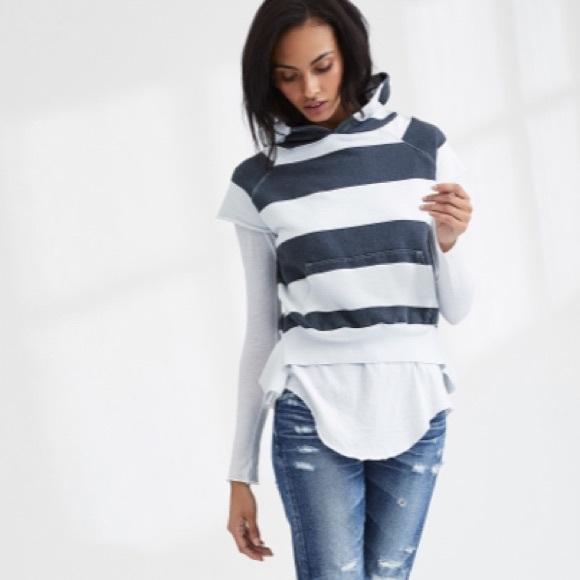 8e5c09e66c8 FRANK   EILEEN Tops - FRANK   EILEEN TEE LAB Stripe Hoodie Sweatshirt